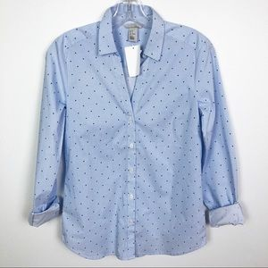 H&M Star Printed Button Down Shirt Blue Size 4